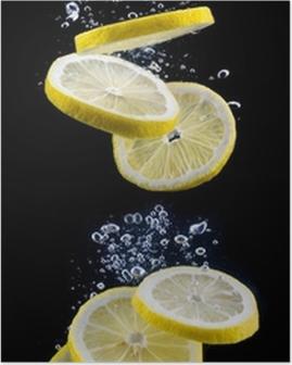 Poster Tranche de citron dans l'eau