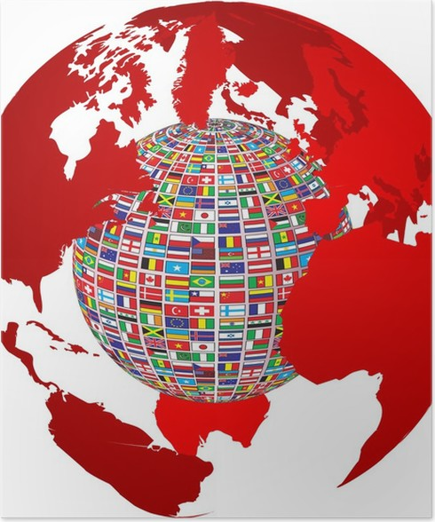 Transparency world map with country flags on it poster pixers transparency world map with country flags on it poster gumiabroncs Choice Image