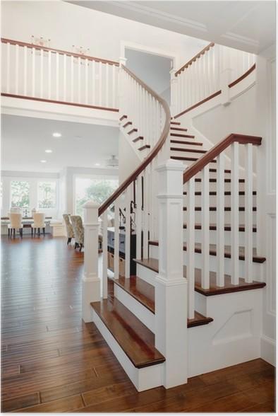 Poster Trap en kijk op de woonkamer en tweede etage in New Home ...