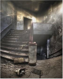 Poster Trappen in een verlaten complex