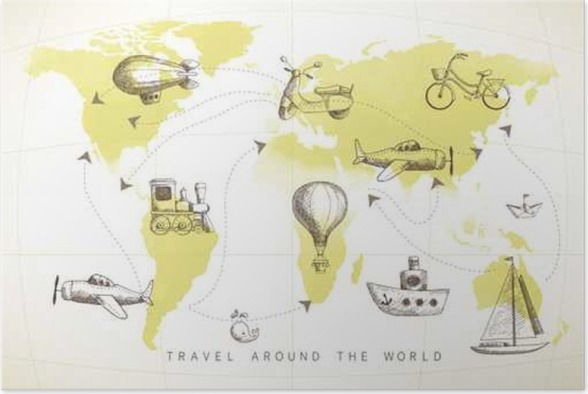 Travel set icons collection on the world map poster pixers we travel set icons collection on the world map poster transport gumiabroncs Gallery