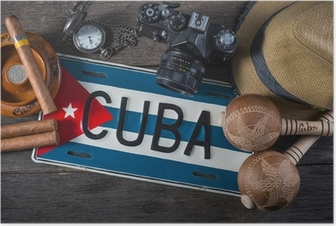 Travel to Cuba, vintage items overhead Poster