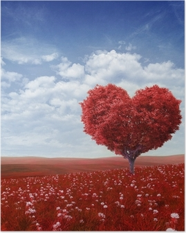 Tree in the shape of heart, valentines day background, Poster