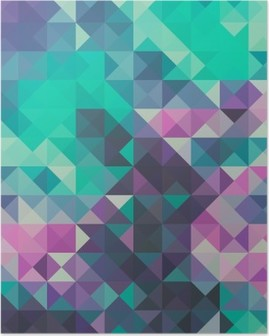 Triangle background, green and violet Poster