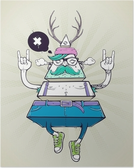 Triangle hipster bizarre character Poster