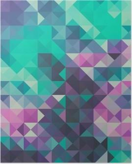 Póster Triángulo de fondo, verde y violeta