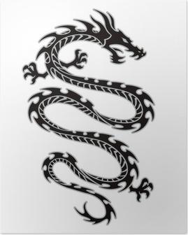 Poster Tribal tatouage de dragon