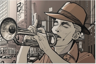 Poster Trompettiste new-york