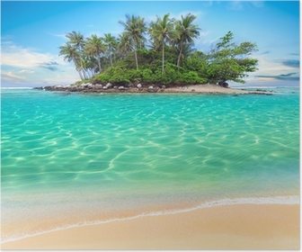Tropical island and sand beach exotic travel background Poster