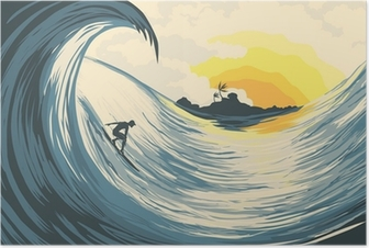 Tropical island wave and surfer Poster