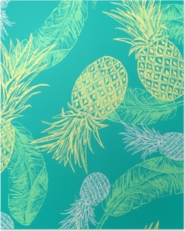 Tropical seamless pattern Poster