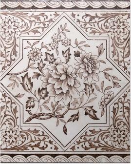 Poster Tuile période victorienne arts décoratifs imprimé en ton sépia