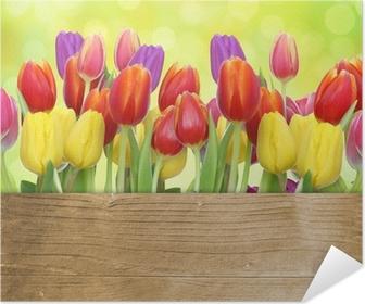 Tulpen mit Holztafel Poster