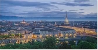 Póster Turín (Torino), alta definición panorama en el crepúsculo