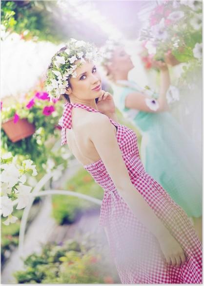 Two beautiful women in the huge garden Poster - Women