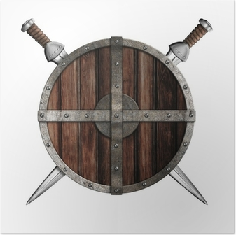 Two swords behind wooden round shield isolated Poster