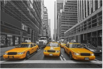 Poster TYellow taxi's in New York City, Verenigde Staten.