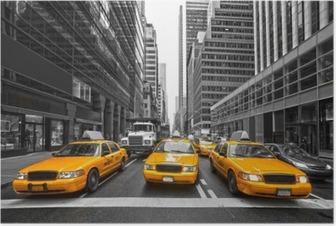 Póster TYellow taxis en Nueva York, EE.UU..
