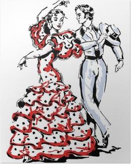Poster Typique illustration espagnol flamenco vecteur