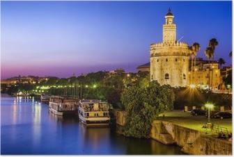 Poster Uitzicht op Golden Tower (Torre del Oro) van Sevilla, Andalusië, Spanje