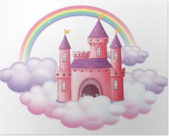 Poster Un château de conte de fées rose