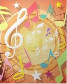 Poster Un fond coloré notes de musique