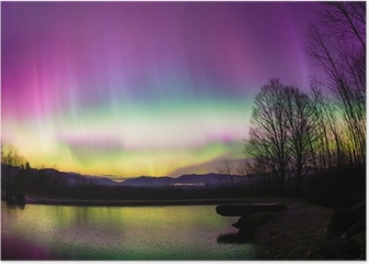Uncommon Aurora Borealis in Vermont. Poster