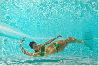 Underwater woman portrait with green bikini in swimming pool. Poster