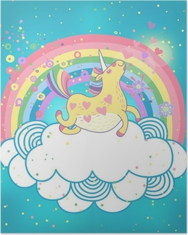 Unicorn rainbow in the clouds Poster