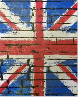 Union Jack on a Brick Wall Background Poster