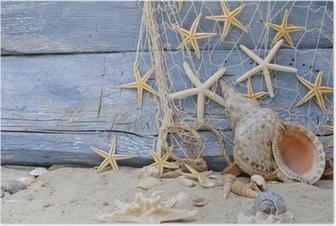 Poster Urlaubserinnerung: Posthornschnecke, Seesterne und Fischernetz