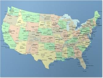 Poster USA kaart met namen van staten en steden