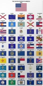 Poster USA: Vlaggen van de staten (met namen en postcodes)