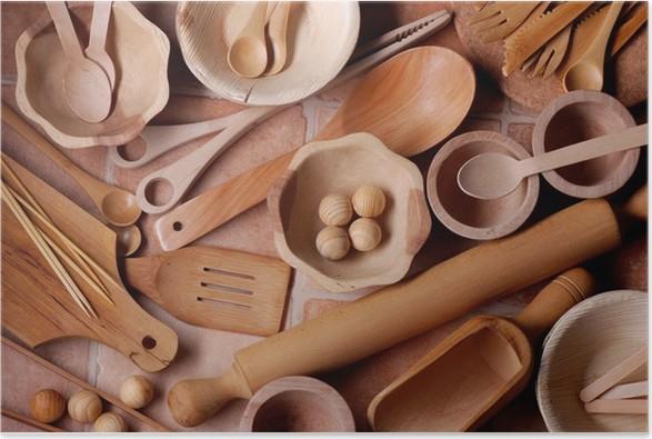 utensili da cucina in legno Poster • Pixers® • We live to change
