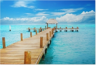 Vacation in Tropic Paradise. Jetty on Isla Mujeres, Mexico Poster