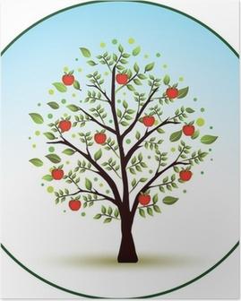 Poster Vacker vektor äppelträd
