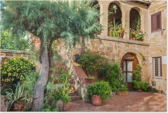 Poster Vacker veranda i en liten stad i Toscana