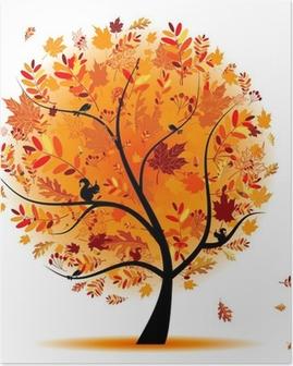 Poster Vackra hösten träd för din design