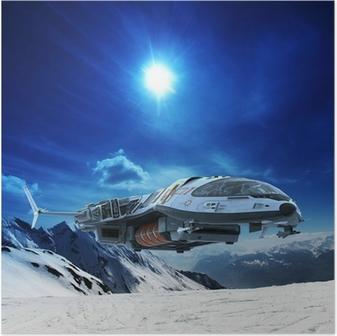 Poster Vaisseau spatial dans la planète de neige