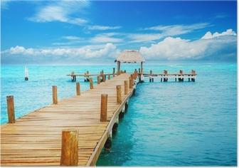 Poster Vakantie in Tropic Paradise. Pier op Isla Mujeres, Mexico