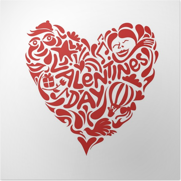 Valentine Heart Made From Symbols Poster Pixers We Live To Change