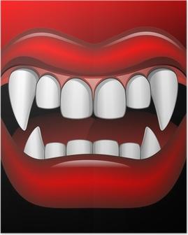 Vampire Mouth Fierce Halloween-Bocca di Vampiro Feroce-Vector Poster