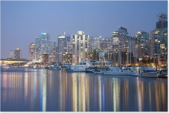 Poster Vancouver skyline at night