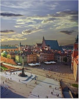 Poster Varsovie place du château et le coucher du soleil