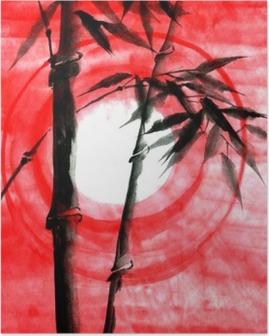 Poster Vattenfärg bläck Japanise bambu solnedgång