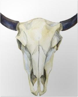 Poster Vattenfärg cow skull