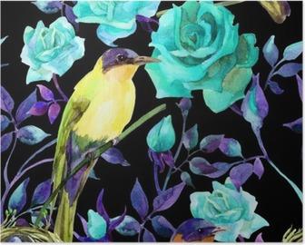 Poster Vattenfärg fåglar på blå rosor