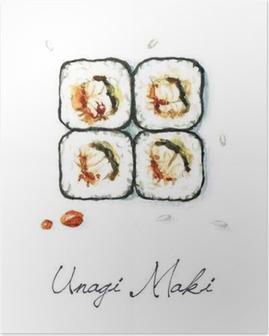 Poster Vattenfärg Food Målning - Unagi Maki