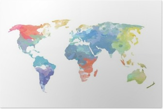 Poster Vattenfärg Världskarta Poster