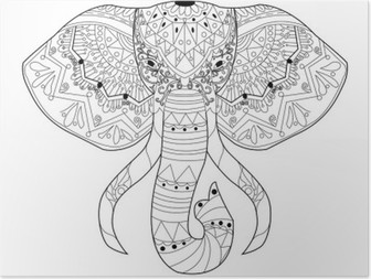Coloriage Elephant Pour Adulte.Poster Vecteur De Coloriage Elephant Pour Les Adultes Pixers